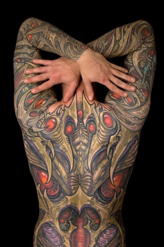 Biomechanical is the tattoo style which go big more often. Here a piece by Ron Earhart.