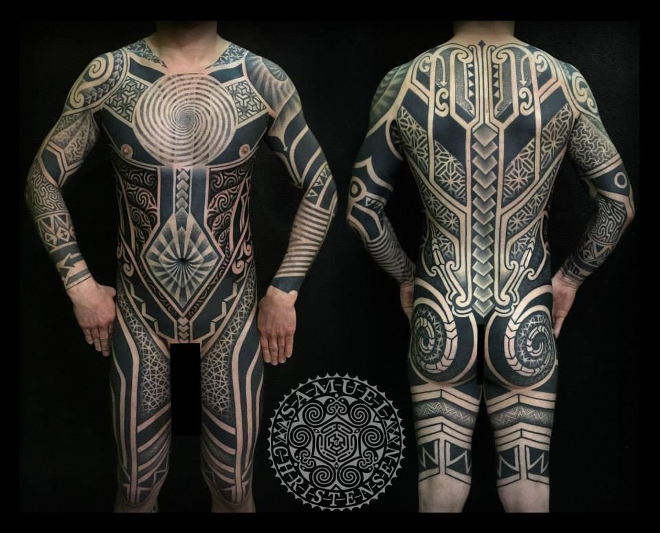 Badass tribal bodysuit by Samuel Christensen.