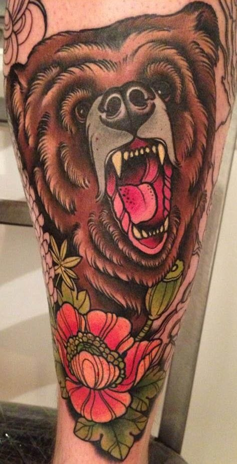 25 Mighty Traditional Bear Tattoos | Tattoodo