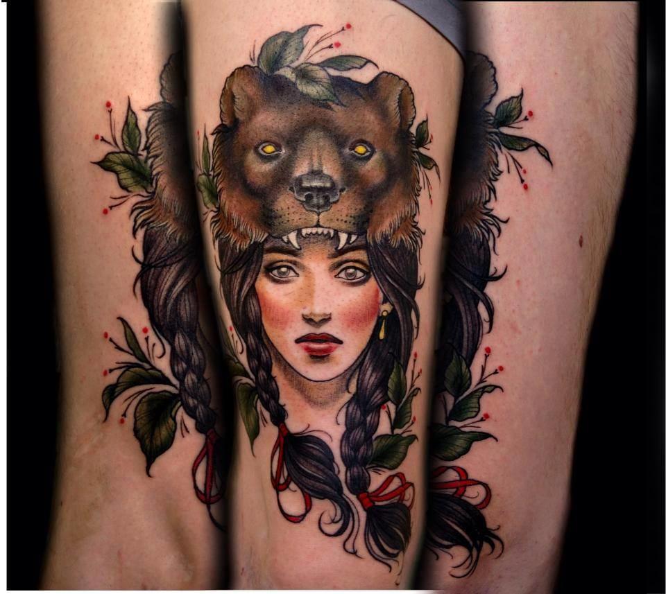 Beautiful Bear Cowl Tattoo by Samantha Smith Tattoo Co