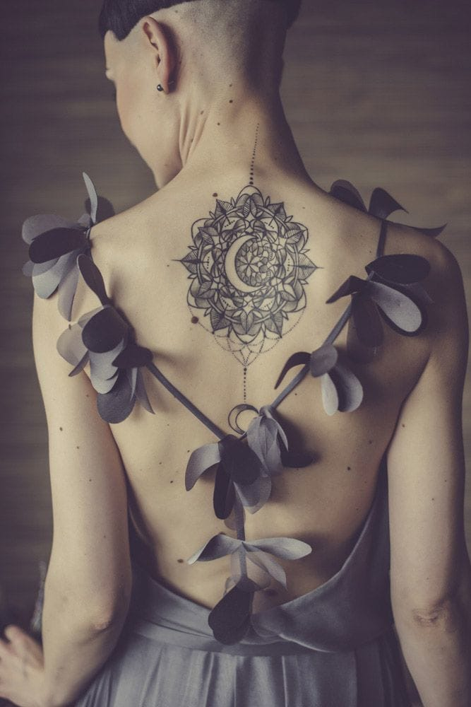 Elegant negative space crescent moon tattoo inside a mandala. Artist unknown. Wedding photography by Lina Aidukaite. #moon #linework #btattooing #blackwork #scenery #celestial #mandala #dotwork
