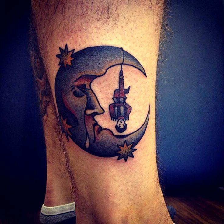 Moon and Tarot hanging man by Jemma Jones #moon #newschool #celestial #moontattoo #hangingman