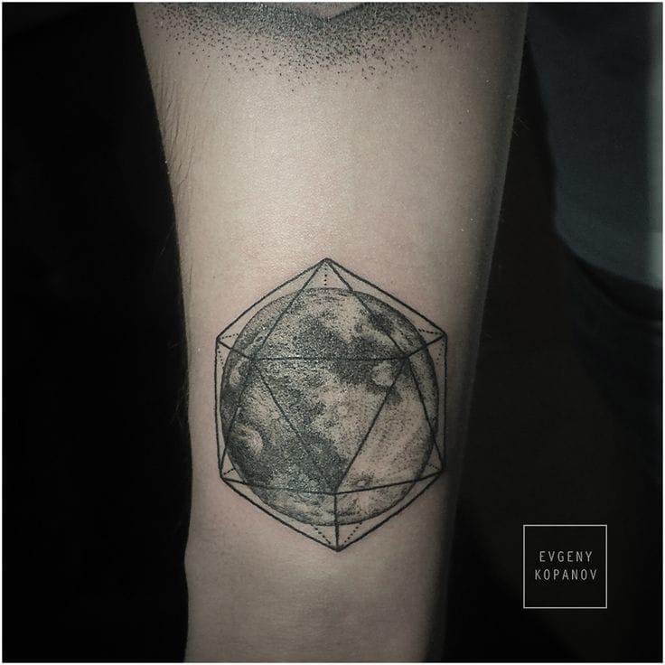 Full moon tattoo in a geometric shape by Evgeny Kopanov.'#geometric #moon #geomtericmoon #EvgenyKopanov #fullmoon