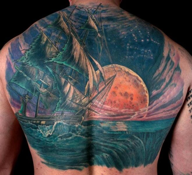 Epic nautical moon tattoo backpiece by Dead God Tattoo #moon #nautical #backpiece #DeadGodTattoo