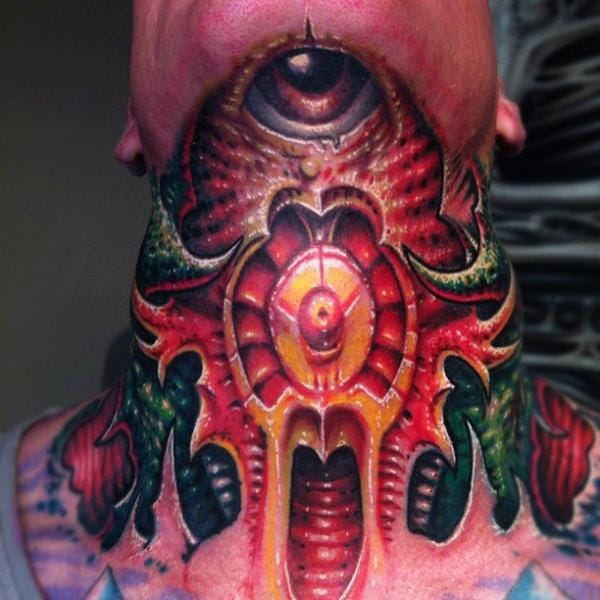 This biomechanical piece was done at Fatink Tattoo