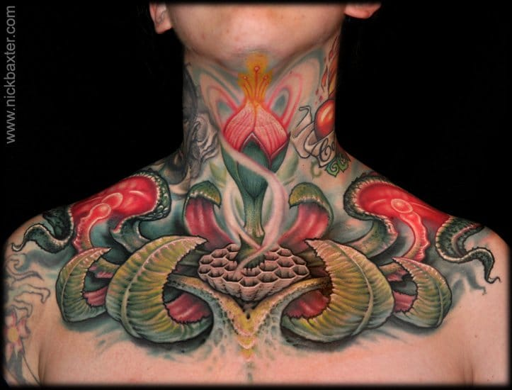 Nick Baxter created this throat, neck and chest flower tattoo
