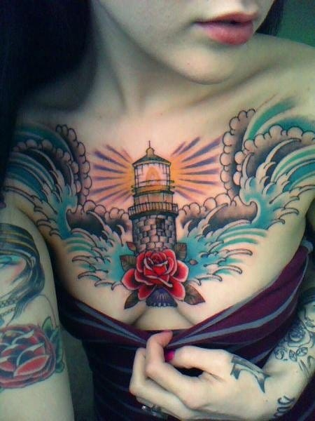 15 Colourful Lighthouse Tattoos