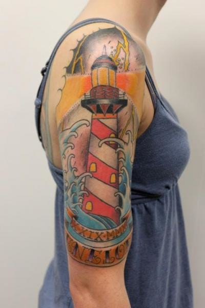 Shoulder lighthouse tattoo done at Tantrix Body Art #lighthouse #lighthousetattoo #maritime #TantrixBodyArt
