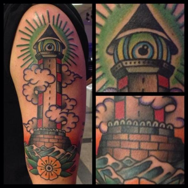 Filip Henningsson did this awesome lighthouse tattoo #lighthouse #lighthousetattoo #maritime