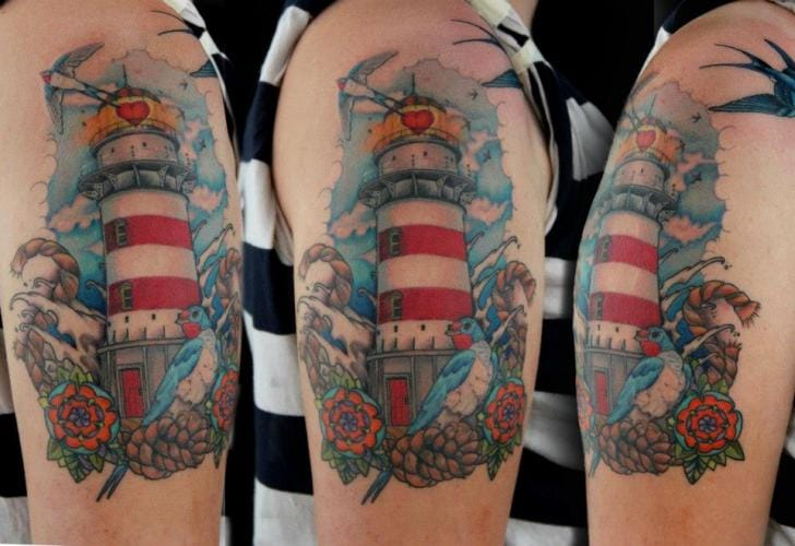 Lighthouse tattoo done at Skin Deep Art #lighthouse #lighthousetattoo #maritime #sea #SkinDeepArt