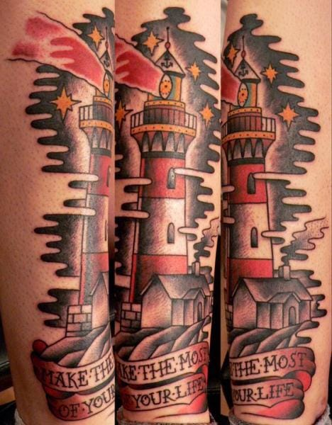 This lighthouse was created at Last Port Tattoo
