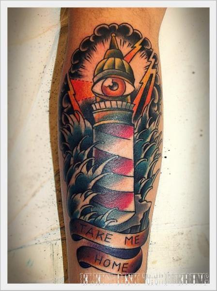 Striking tattoo by Elektrisk Tatovering #lighthouse #lighthousetattoo #maritime #ElektriskTatovering