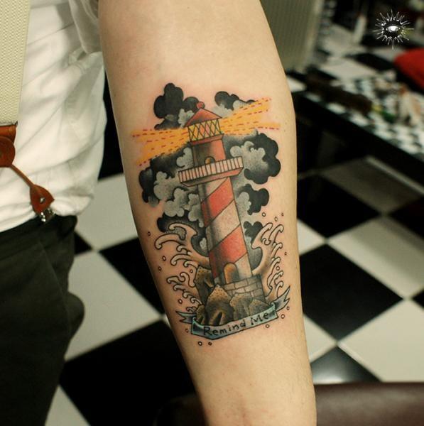 This brilliant little lighthouse was done by Maverick Ink #lighthouse #lighthousetattoo #maritime #sea #MaverickInk