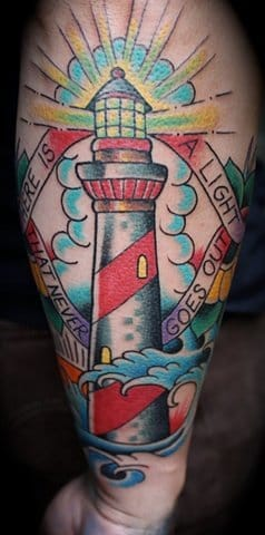 Mike Lussier did this lighthouse #lighthouse #lighthousetattoo #maritime #MikeLussier
