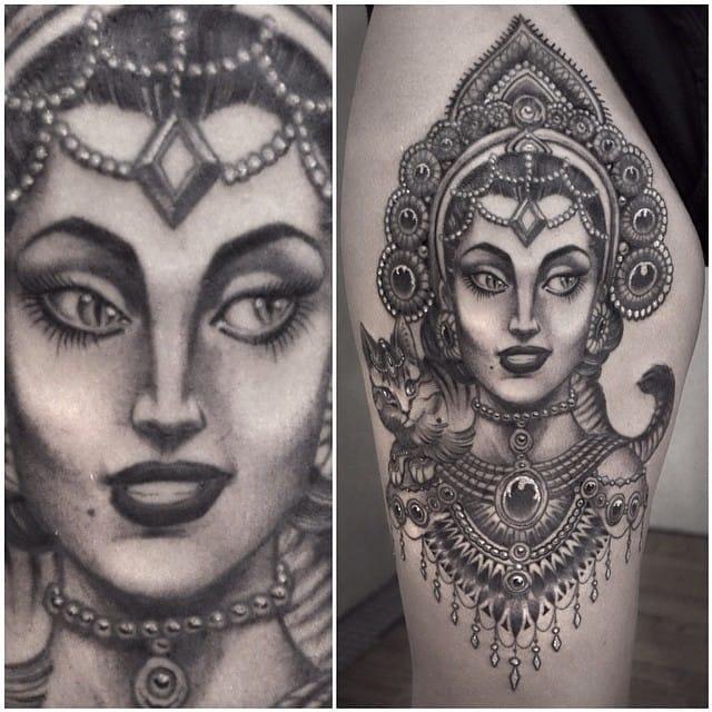 female realistic tattoo