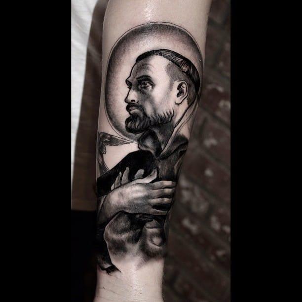 black and grey saint tattoo