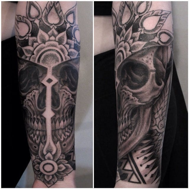 skull on fire black and grey