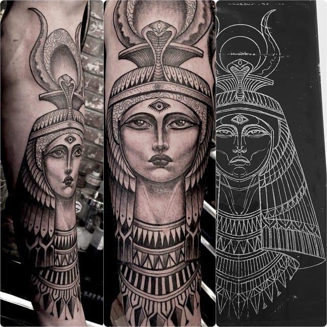 black and grey female tattoo