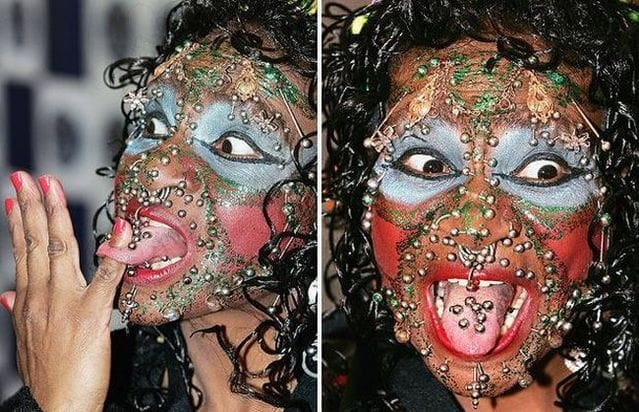 Extreme face piercings