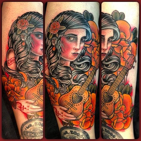 New school gypsy tattoo by Mikael de Poissy