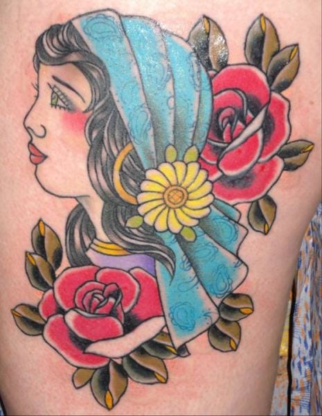 Bright gypsy tattoo by Ten Ten Tattoo