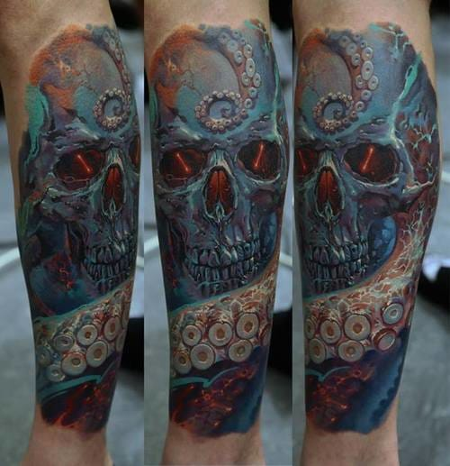 Tentacles and fire inside for this impressive sleeve by Dmitriy Samohin. #skull #blue