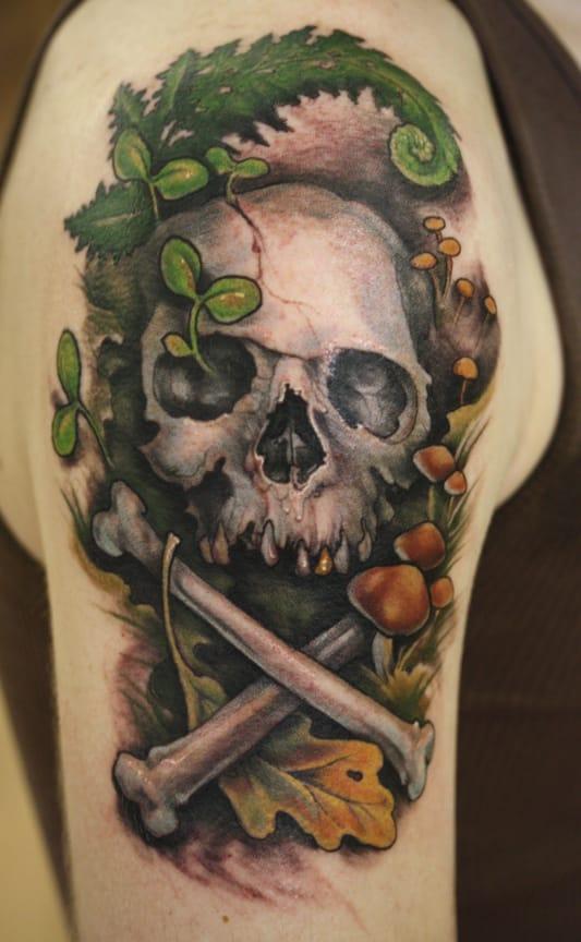 Skull tattoo, artist unknown. #skull