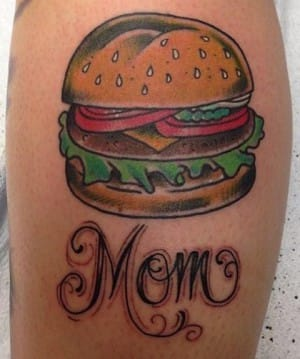 Justin Martinez 'mom's burger', elementtattoo