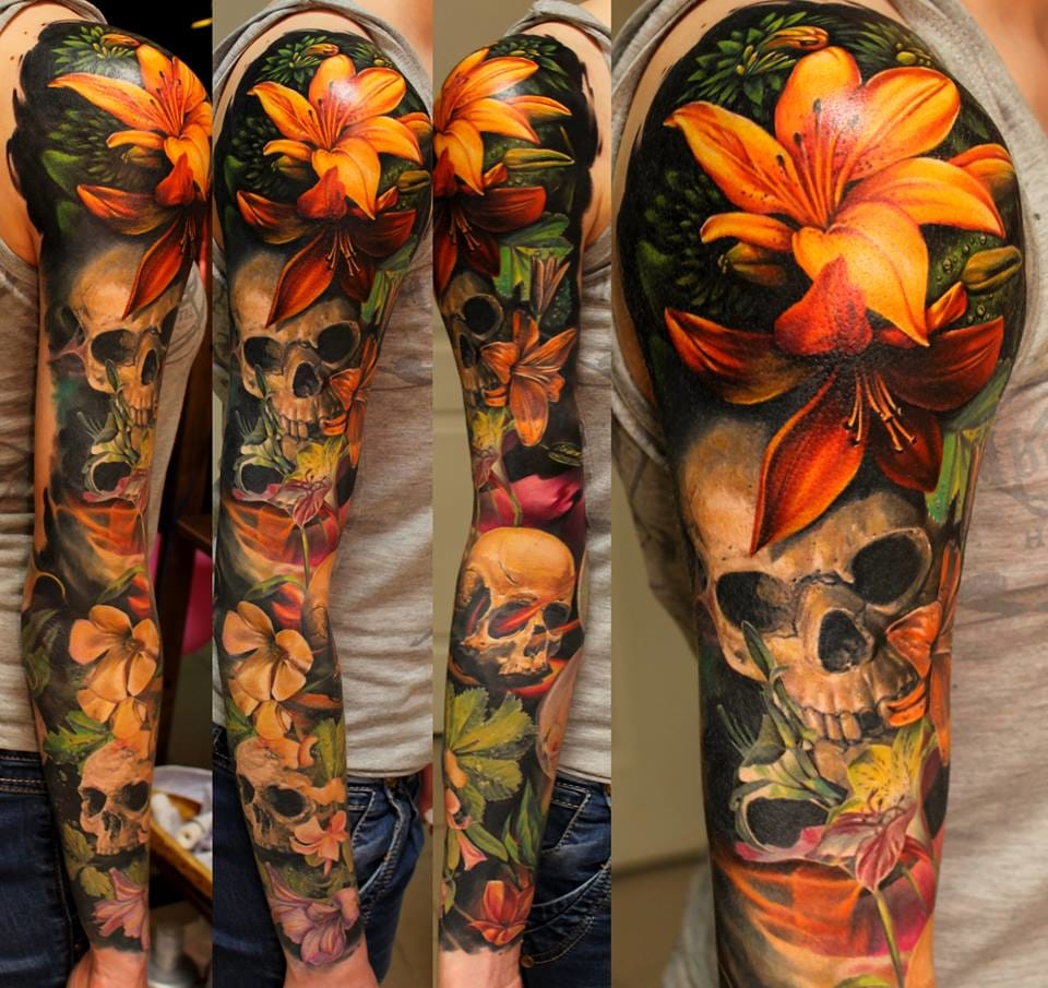 20 realistic nature tattoo sleeves tattoodo. Black Bedroom Furniture Sets. Home Design Ideas