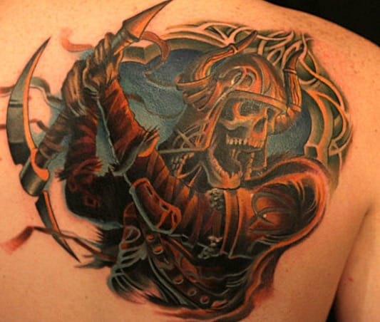 Tommy Helm did this epic tattoo for the season 1 final of Ink Master. #inkmaster #tommyhelm #skull