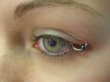 Crazy eyelid piercing