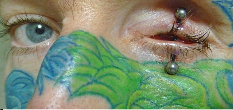 OMG, extreme eyelid piercing