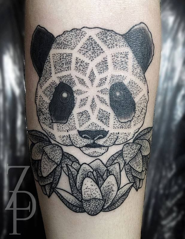Cute dotwork panda by Zach Peacocks.