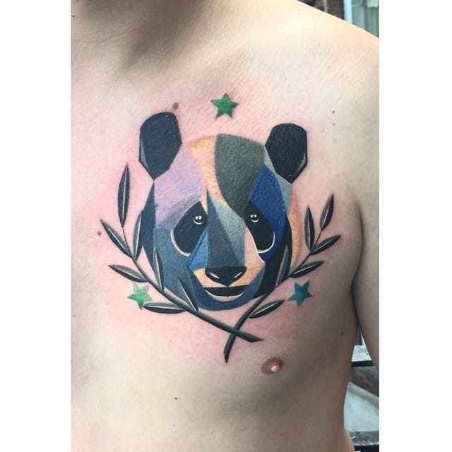 Cosmic watercolor panda by Karl Marks.