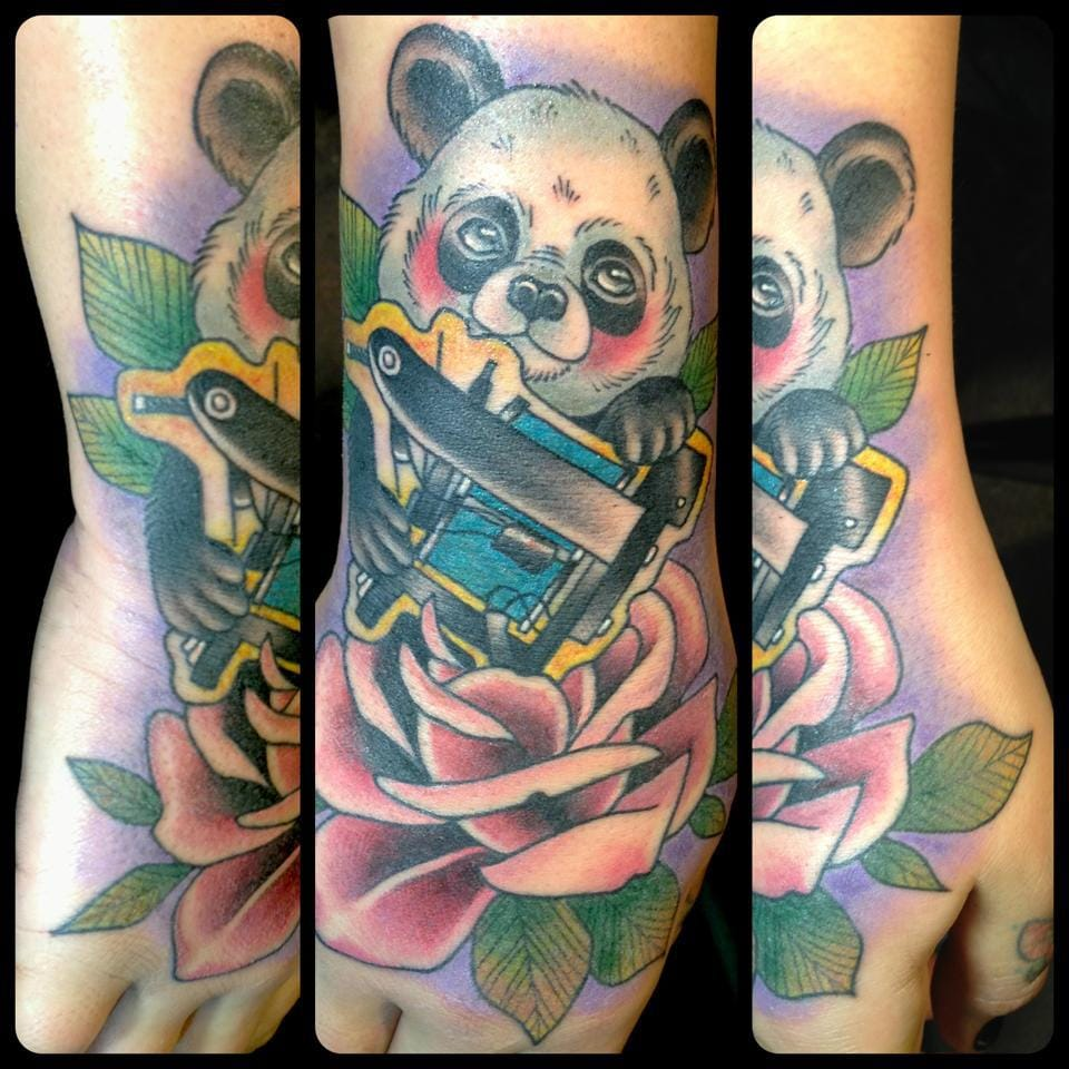 Is this cute panda willing to become a tattoo apprentice? by Guen Douglas.
