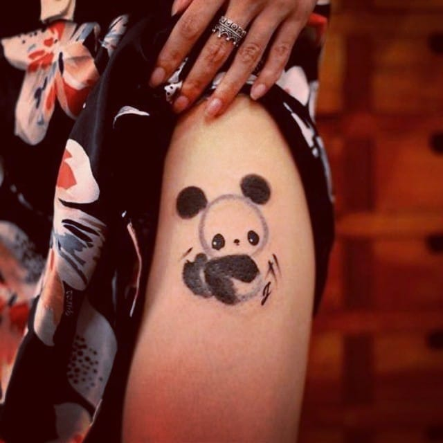 One of the irresistible sumi-e panda tattoos done by Chen Jie...