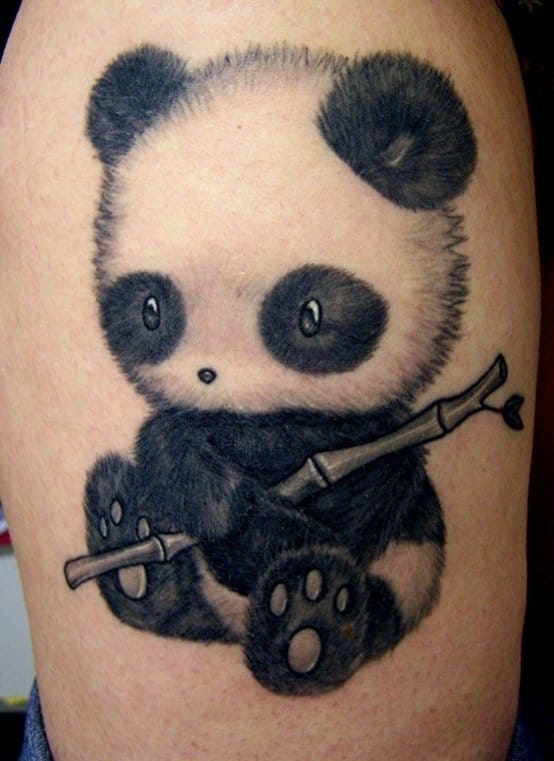 Small baby panda by Catherine of Mystic Tattoos.