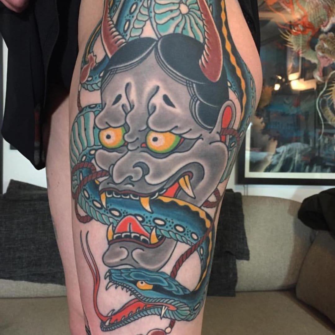 The wild symbolism behind japanese hannya masks tattoodo for Japanese mask tattoo