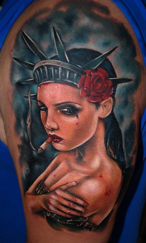 Cool Liberty Statue girl by Kyle Cotterman.