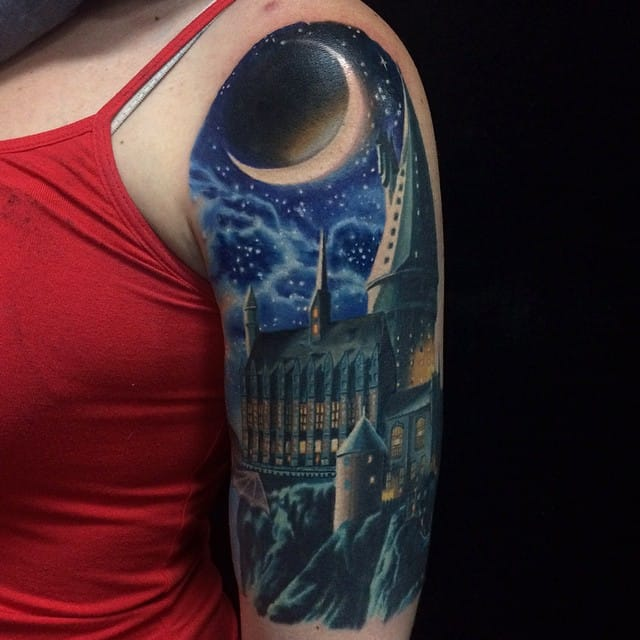 Amazing Hogwarts Tattoo by Jamie Schene