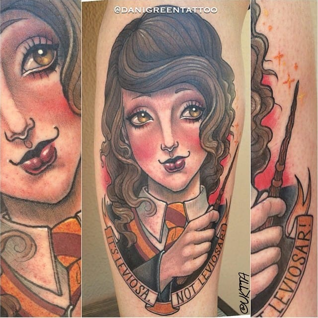 Dani Green made this adorable Hermione tattoo. #HarryPotter #Hermione #fantattoo #portrait #neotraditional #tibute #DaniGreen