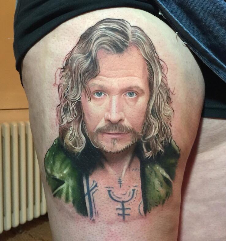 Another stunning example of Harry Potter tattoos. Sirius by David Corden! #HarryPotter #fantattoo #tribute #Sirius #DavidCorden #portrait #realism #realisticportrait