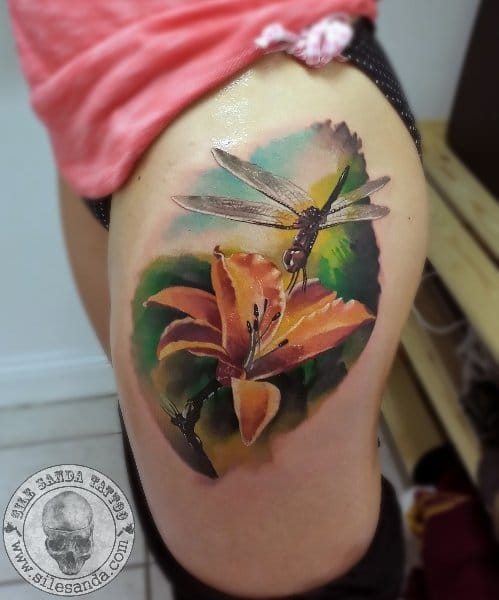 Realistic flower and dragon fly by Sile Sanda
