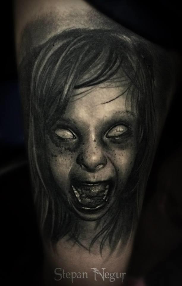 Spooky little girl by Stepan Negur #horrortattoo #horror #scream #StepanNegur