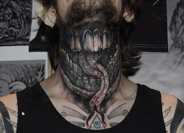 Terrific neckpiece by Robert Borbas aka Grindesign! #horrortattoo #horror #bloody #RobertBorbas #blackandgrey #Grindesign