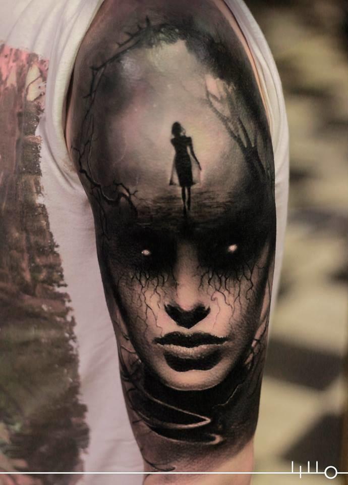 Mysterious half sleeve by Rainer Lillo. #halfsleeve #horrortattoo #horror #realistic #creepy