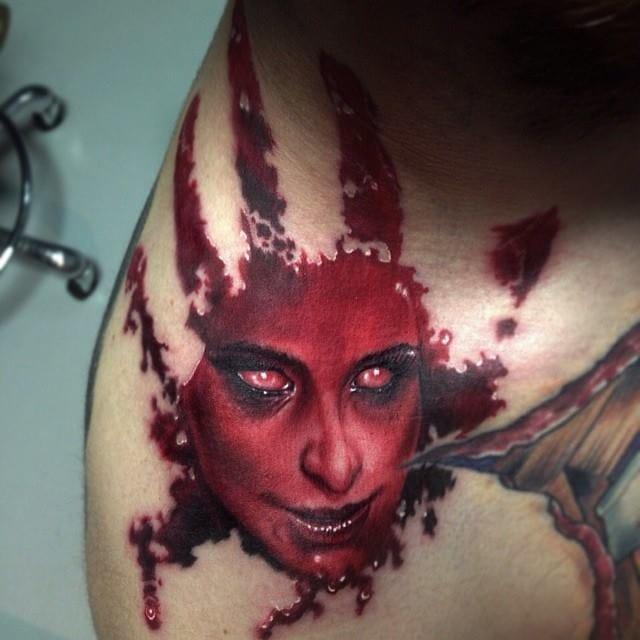 The ultimate master of horror tattoos: Paul Acker! #horrortattoo #horror #bloody #PaulAcker