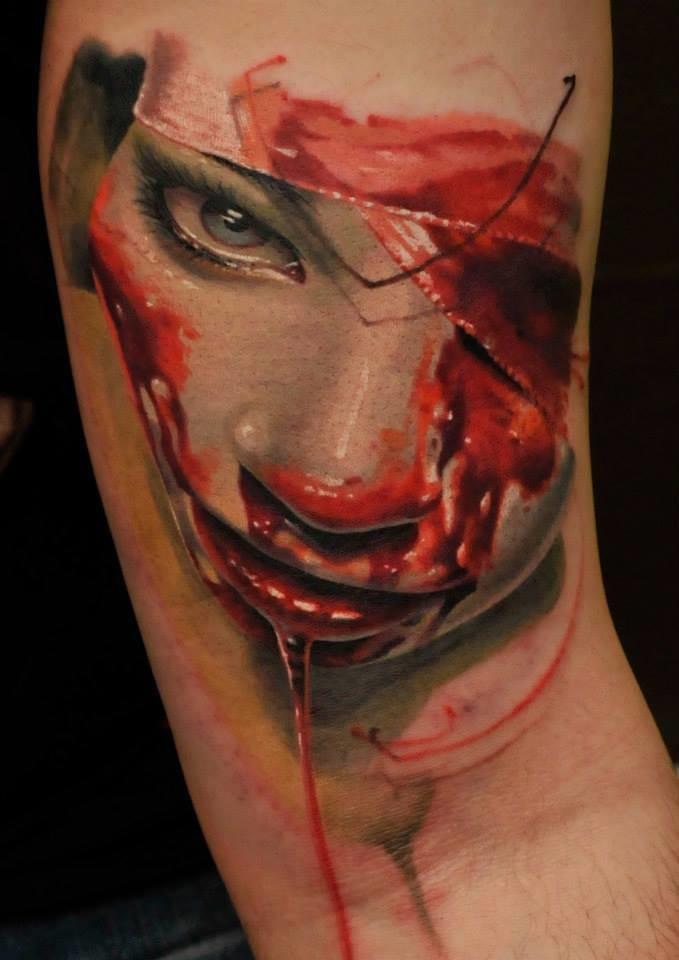 The creepy realism of Csaba Müllner #horrortattoo #horror #bloody #csabamullner #creepy #realism