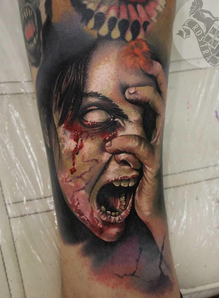 Zombie girl by Antonina Troshina #horrortattoo #horror #bloody #zombie #AntoninaTroshina