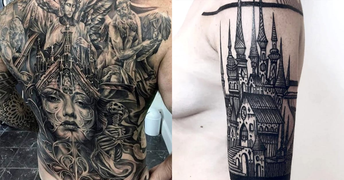 gothic tattoos that take after medieval art and architecture tattoodo. Black Bedroom Furniture Sets. Home Design Ideas
